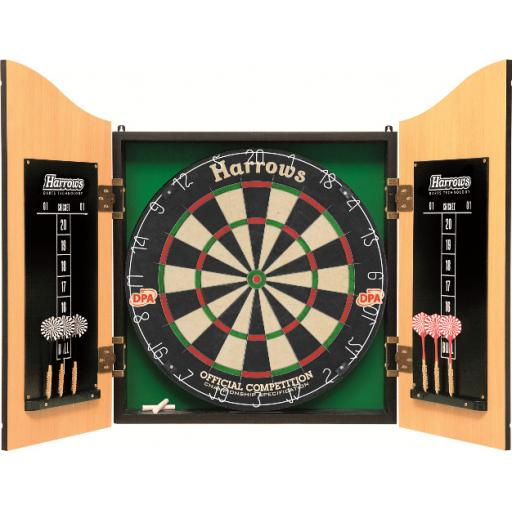 PRO CHOICE WOOD CABINET & BOARD SET INC 2 SETS OF DARTS