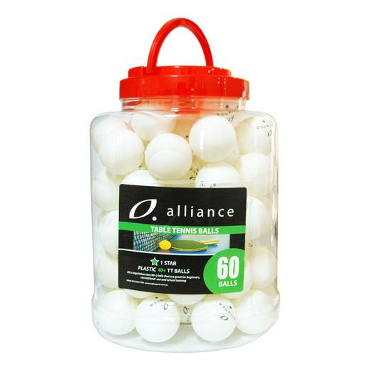 ALLIANCE TABLE TENNIS BALLS 40+ ABS 1 STAR WHITE - BUCKET OF 60